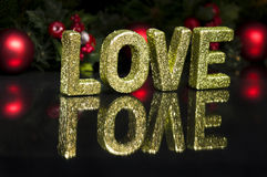 Na letra de capital escrita o amor, efeito do glitter Imagens de Stock