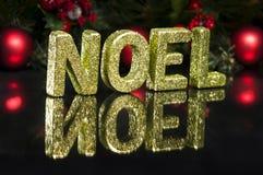 Na letra de capital escrita o noel, efeito do glitter Foto de Stock