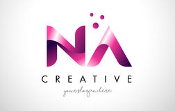 NA Letter Logo Design with Purple Colors and Dots Stock Image