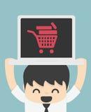 Na linha loja na linha elementos da compra do Internet da loja Fotos de Stock Royalty Free