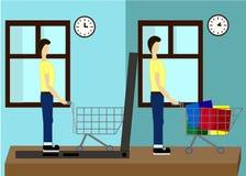 Na linha loja A venda, portátil com toldo, homens que compram o material com portátil, compra em casa ilustração do vetor