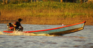 Na maneira de ir que pesca no rio da selva das Amazonas, durante o atrasado da tarde, em Brasil. Imagens de Stock