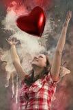 Na moça do amor com coração imagem de stock