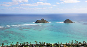 Na Mokulua islets from Kaiwa Ridge Royalty Free Stock Images