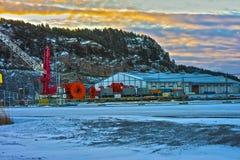 Na molu przy portem Halden, Norwegia (hdr brzmienie) Fotografia Stock