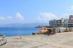 Na molu w Agios Nikolaos Obrazy Stock