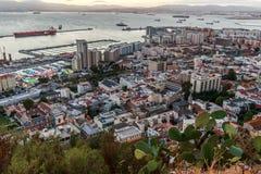 Na morzu kapitał Gibraltar, widok od skały Gibraltar Fotografia Royalty Free