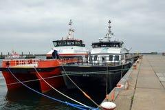 Na morzu naczynie przy Helgoland schronieniem Fotografia Royalty Free