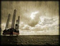 Na morzu platforma wiertnicza Fotografia Stock