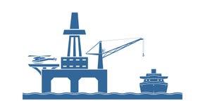 Na morzu platforma wiertnicza ilustracji