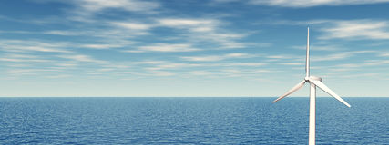 Na morzu silnik wiatrowy Obrazy Royalty Free