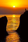 Na morzu wieczór scena Zdjęcia Royalty Free