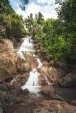 Na Muang瀑布,酸值苏梅岛海岛,泰国 库存图片