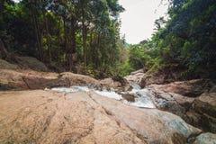 Na Muang瀑布,酸值苏梅岛,泰国 库存图片