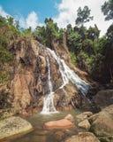Na Muang瀑布,酸值苏梅岛,泰国 图库摄影