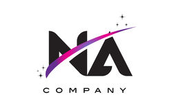 NA N A Black Letter Logo Design with Purple Magenta Swoosh Stock Photos