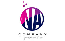 NA N A Circle Letter Logo Design with Purple Dots Bubbles Royalty Free Stock Images