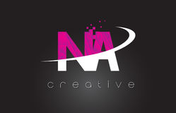 NA N A Creative Letters Design With White Pink Colors Stock Photos