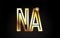 Na n de lettre d'alphabet d'or une conception d'icône de combinaison de logo Images stock