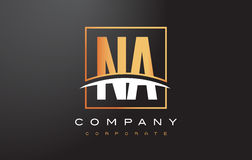 NA N A Golden Letter Logo Design with Gold Square and Swoosh. Royalty Free Stock Photos