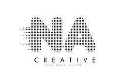 NA N A Letter Logo with Black Dots and Trails. Stock Photos