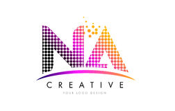 NA N A Letter Logo Design with Magenta Dots and Swoosh Stock Photo