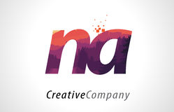 NA N A Letter Logo Design with Purple Forest Texture Flat Vector Stock Images