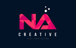 NA N A Letter Logo with Purple Low Poly Pink Triangles Concept Royalty Free Stock Photography