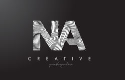 NA N A Letter Logo with Zebra Lines Texture Design Vector. Stock Photography