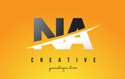 NA N A Letter Modern Logo Design with Yellow Background and Swoo Royalty Free Stock Image
