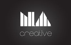 Na N une lettre Logo Design With White et lignes noires Photo stock