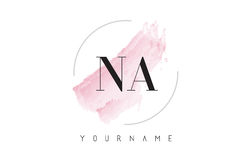 NA N A Watercolor Letter Logo Design with Circular Brush Pattern Royalty Free Stock Image