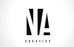 NA N A White Letter Logo Design with Black Square. Royalty Free Stock Images