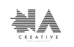 NA N A Zebra Letter Logo Design with Black and White Stripes Royalty Free Stock Photography