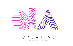 NA N A Zebra Lines Letter Logo Design with Magenta Colors Royalty Free Stock Photography