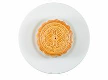 Na naczyniu księżyc naczynie Chiński tort Zdjęcia Royalty Free
