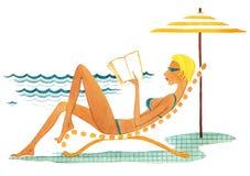 Na nadmorski, dziewczyny kłamstwo na bryczki longie blisko morza ilustracji