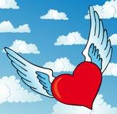 Na niebie latający serce Zdjęcia Stock