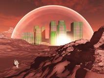 Na niegościnnej planecie planeta miasto ilustracji