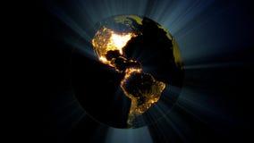 Na noite, as cidades da terra iluminam o espaço rendição 3d vídeos de arquivo