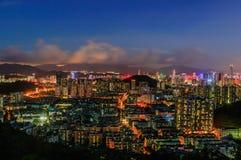 Cena da noite de Shenzhen Fotografia de Stock