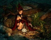 Na noite na floresta feericamente, 3d CG ilustração royalty free