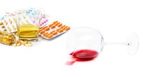 Nałogi alkohol, leki Obraz Royalty Free