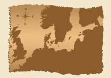 na północ od starej mapy. Obrazy Royalty Free