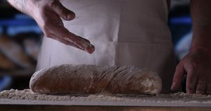 Na padaria, as mãos do padeiro são consideradas muito proximamente video estoque