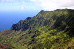 Na Pali cliffs on Kauai. A scenic view of Na Pali cliffs on the island of Kauai Royalty Free Stock Images