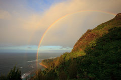 Na Pali Coast. Rainbow along the Na Pali Coastline on the island of Kauai, Hawaii Royalty Free Stock Images