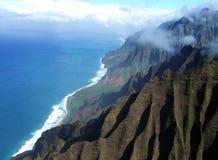 Na Pali Coast. Aerial view of the Na Pali Coast on the island of Kauai in Hawaii Stock Image