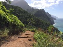 Na Pali Coast Cliffs on Kauai Island, Hawaii - Kalalau Trail. Stock Image