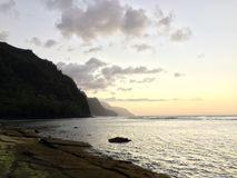 Na Pali Coast Cliffs on Kauai Island, Hawaii - View from Ke'e Beach during Sunset. Stock Image